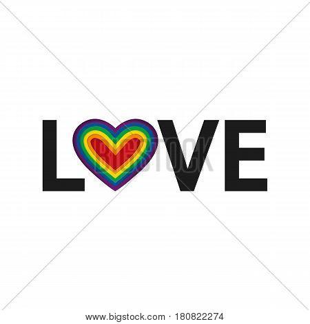 Love. Lgbt Rainbow Heart. Vector Illustration.lgbt Pride Flag In Vector Format. Love Text. Homosexua