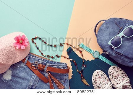 Fashion Design Woman Clothes Accessories Set. Trendy Hipster Denim, Summer Girl. Urban Street Outfit. Fashion Backpack, summer Sunglasses, Stylish Gumshoes. Glamor fashion hipster Watch. Art Minimal