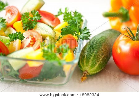 Healthy food: fresh vegetables on the plate poster