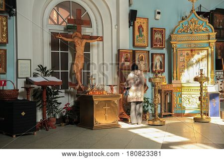Russia. Leningrad region. City Sestroretsk-09.04.2017: The temple was erected in honor of the underwater sailors. People pray to God in the temple