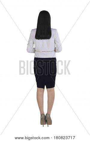 Back View Of Asian Business Woman Standing With Confident Pose