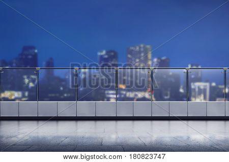 Empty Terrace Of Modern Office Building