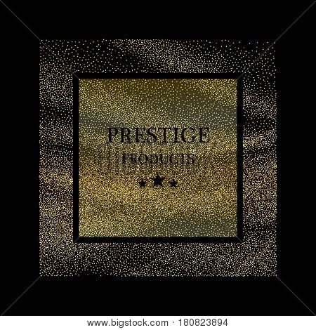 Golden frame on black background. Gold sparkles on black background. Gold glitter background.Vector EPS10