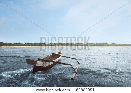 Wooden Boat Float With Wave Water
