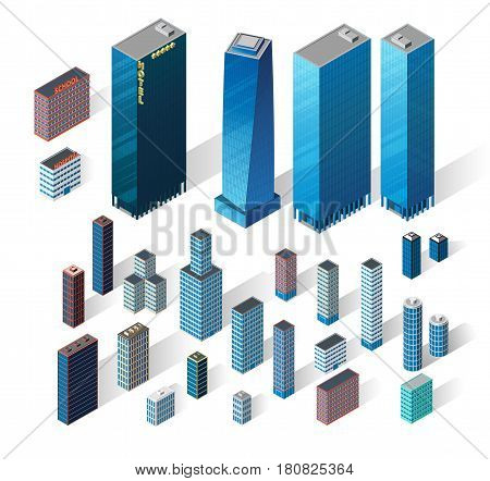 Vector isometric buildings set. Skyscrapers icons on white background. Big city collection. Hotel, business center and modern houses.