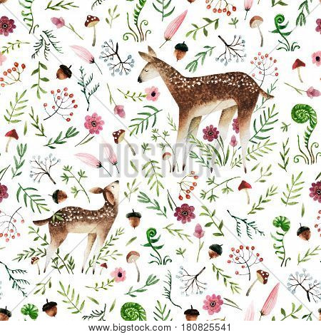 Seamless pattern with hand drawn deer mom and deer baby. Isolated on white background watercolor deers and forest elements for textile fabric and wallpaper. Watercolor seamless pattern.