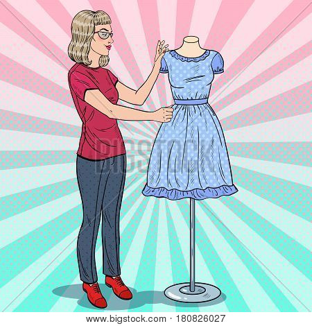 Beautiful Fashion Designer with Dress on a Mannequin. Textile Industry. Pop Art retro vector illustration