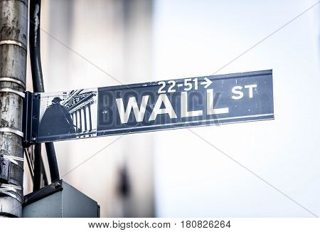 Wall Street sign hanging on a pole New York