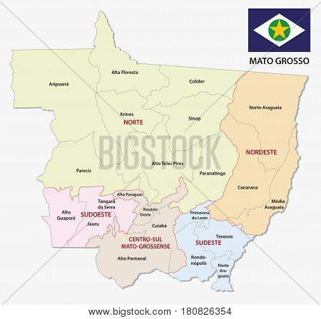 mato grosso administrative and political map with flag