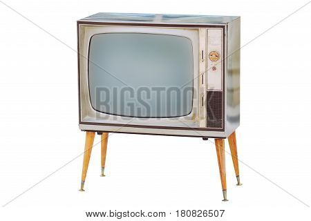 Old tv. Vintage television retro look tonet photo in white background