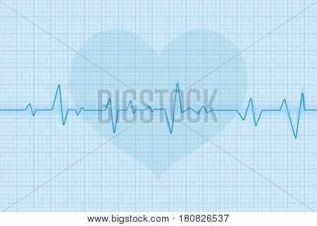 Blue electrocardiogram with heart symbol. Vector 3d illustration