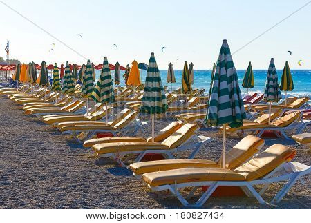 view of the beach with chairs and umbrellas. Greece.