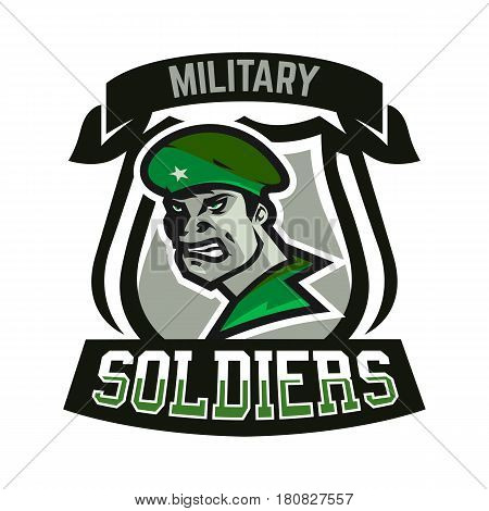 Emblem, logo, military man. Soldier, army, armament, defender of the motherland, sports club. Vector illustration
