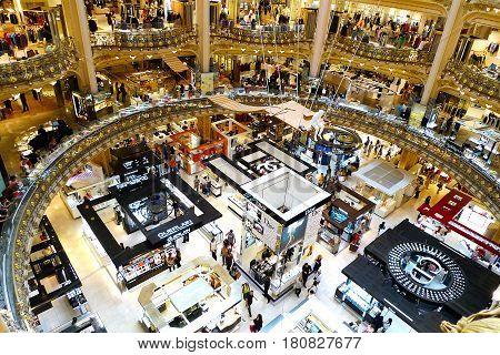 PARIS, FRANCE - JULY 7, 2014: Interior of famous luxury Galleries Lafayette in Paris, France