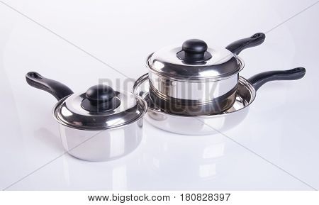 Pan Or Stainless Steel Pan On Background.