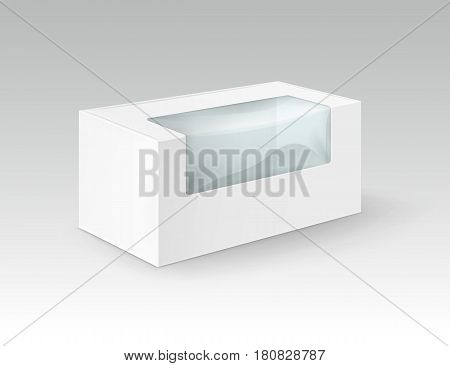 Vector White Blank Cardboard Rectangle Take Away Box Packaging For Sandwich, Food, Gift, Other Products with Plastic Window Mock up Close up Isolated on White Background