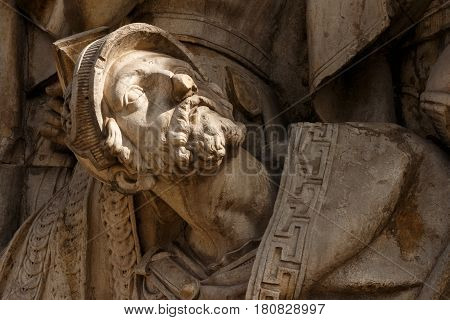 Moscow - 03 February 2017: Sculptures At The Donskoy Monastery Cemetary In Moscow