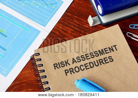 Book with the title Risk assessment and financial data.