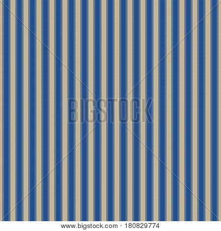 Seamless Pattern of Vertical Strips, Pattern for Fabric and Wrapping Paper ,Gold Strips on Blue Background, Vector Illustration