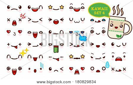 Set of cute kawaii emoticon face and sweet tea kawaii. Collection emoticon manga cartoon style. Vector illustration. Adorable characters icons design
