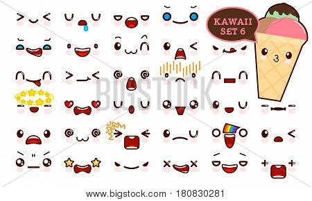 Set of cute kawaii emoticon face and sweet ice cream kawaii. Collection emoticon manga cartoon style. Vector illustration. Adorable characters icons design