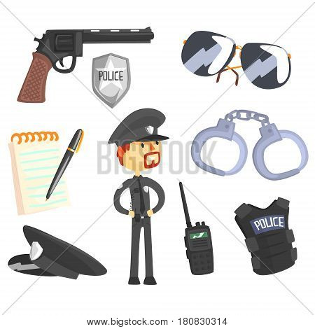Professional Policeman And His Tools, Man And His Profession Attributes Set Of Isolated Cartoon Objects. Police Officer And Cop Duty Related Collection Of Isolated Items.