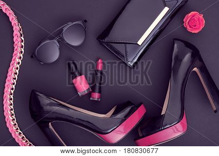 Fashion Design Woman Accessories Set. Cosmetic Makeup. Trendy fashion Sunglasses, Handbag Clutch clothes. Glamor Stylish Black Pink fashion shoes Heels. Luxury Party Night Out lady Black. Art. Minimal