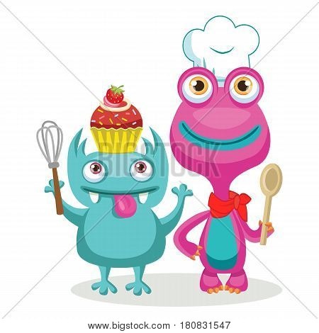 Funny Monsters Chef Character Vector. Animal Chef Cartoon Theme Elements. Vector Set Isolated On White Background.