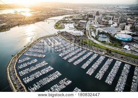 Aerial view of Redondo Beach Marina near Los Angeles California.