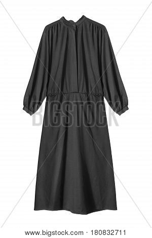 Black silk long oversize dress isolated over white