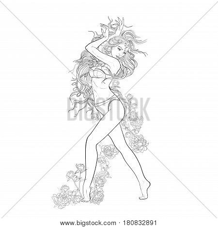 Beautiful oriental belly dancer on white background.