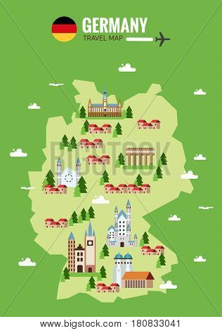 Germany travel map. Infographic travel and landmark. Explore Germany concept image. flat design elements. vector illustration
