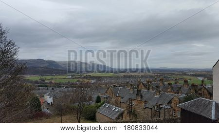 Houses and roof tops of a scottish town