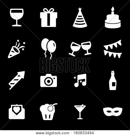 Vector white party icons set on black background