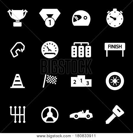 Vector white racing icons set on black background