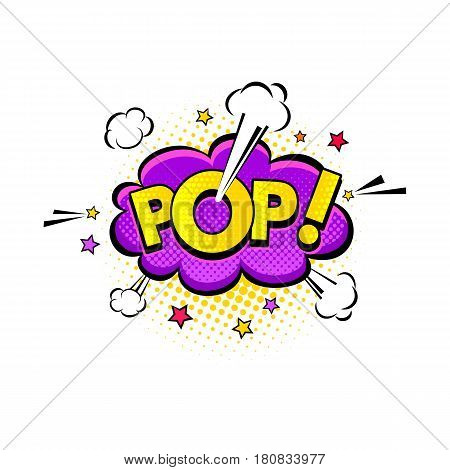 Comic Speech Bubble With Expression Text Pop, Clouds And Stars With Halftone. Vector Bright Dynamic