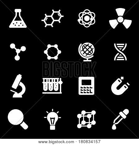 Vector white science icons set on black background