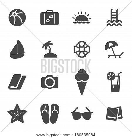 Vector black summer icons set on white background