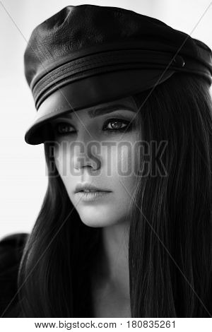 Leather Cap On A Beautiful Girl.