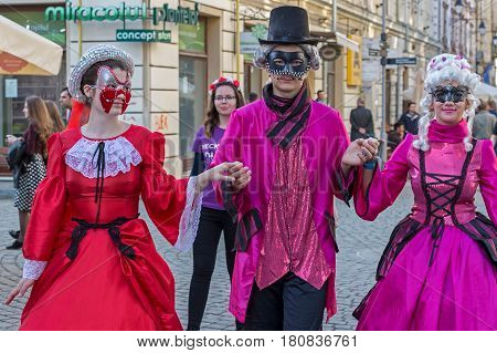 TIMISOARA ROMANIA - MARCH 31 2017: Young actors dressed in period costumes and present on the street inside the CheckART Carnival organized by the City Hall Timisoara.