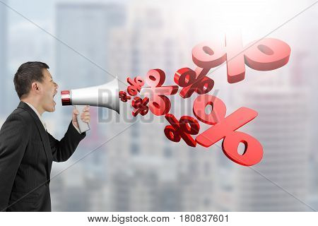 Man Hold Megaphone With Percentage Signs Spraying Out