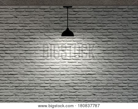 Brick Wall And One Ceiling Lamp