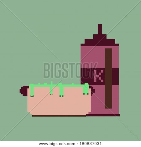pixel icon in flat style hotdog and ketchup