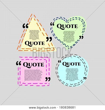 Set of vector scribble hand drawn quote boxes with text isolated. Quote commas message quote blank template. Quote bubble. Quote form.