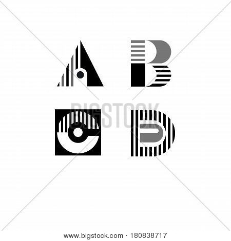 Striped logo icon. Lettering letters a b c d. Geometric elements of logos. Vector illustration.