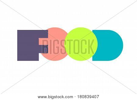 Lettering in style of avant-garde. Word food in form of flat paper geometric shapes. Vector illustration.