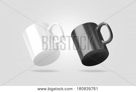 Blank black and white glass mug mockup isolated no gravity view 3d rendering. Clear 11 oz coffee cup mock up for sublimation printing. Empty gift pint set branding template. Glassy restaurant pint