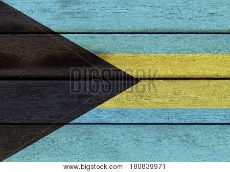 Bahamas Flag On A Wood