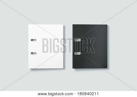 Blank black and white ring binder folder cover mockup top view 3d rendering. Office supply cardboard folder branding presentation.