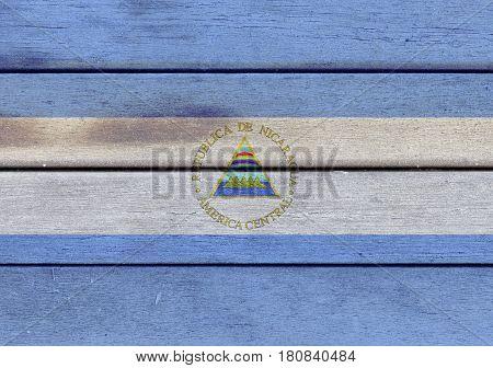 Nicaragua Flag On A Wood